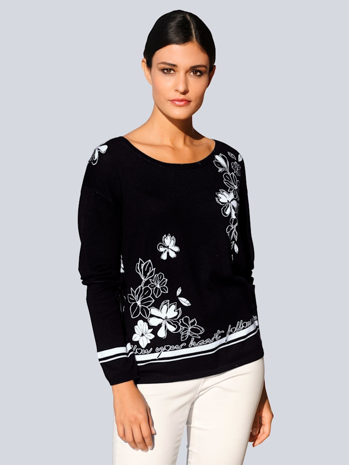 Alba Moda Pullover im eklusiven Alba Moda Print, Schwarz/Weiß