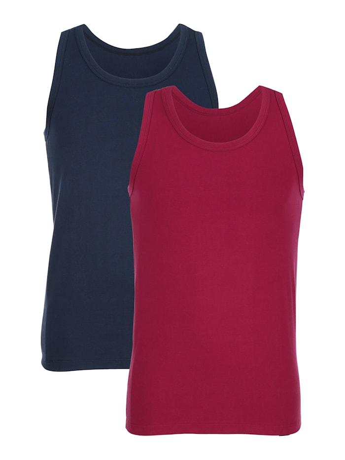 Achselhemden im 2er-Pack, Marineblau/Rubinrot