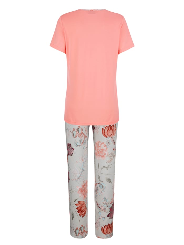 Pyjama met elegante bies aan de V-hals