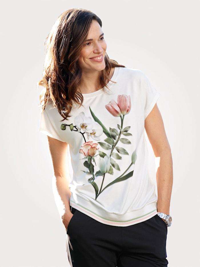 MONA Tričko s kvetinovým motívom, Ecru/Ružová/Tmavozelená