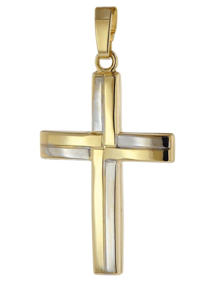 trendor Kreuz Anhänger 333 Gold (8 Karat) Bicolor 24 mm, Multicolor
