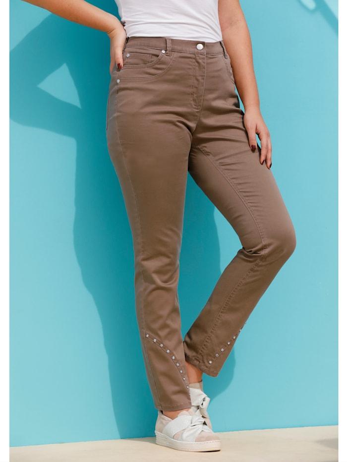 MIAMODA Jeans mit dekorativen Nieten am Saum, Braun