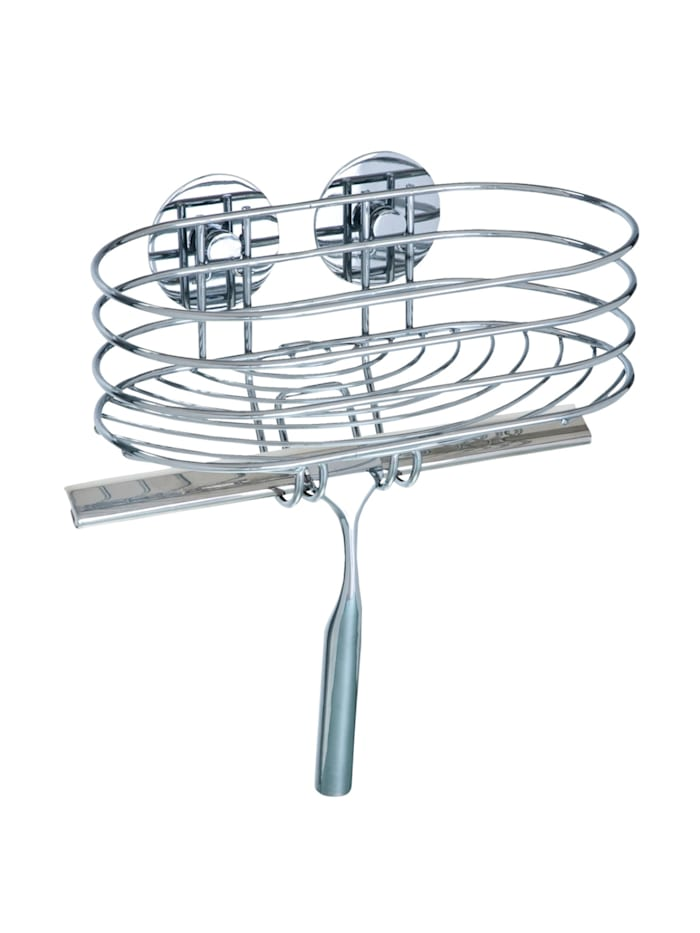 Wenko Turbo-Loc® Wandablage mit Duschabzieher, Befestigen ohne bohren, Chrom