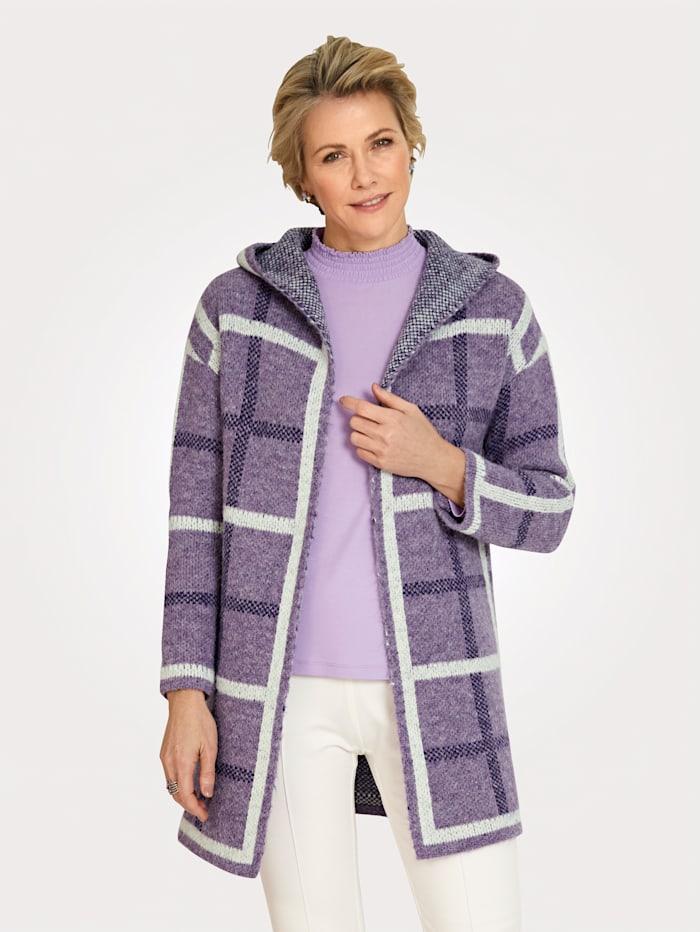 MONA Cardigan in a check pattern, Lavender/Purple/Ecru