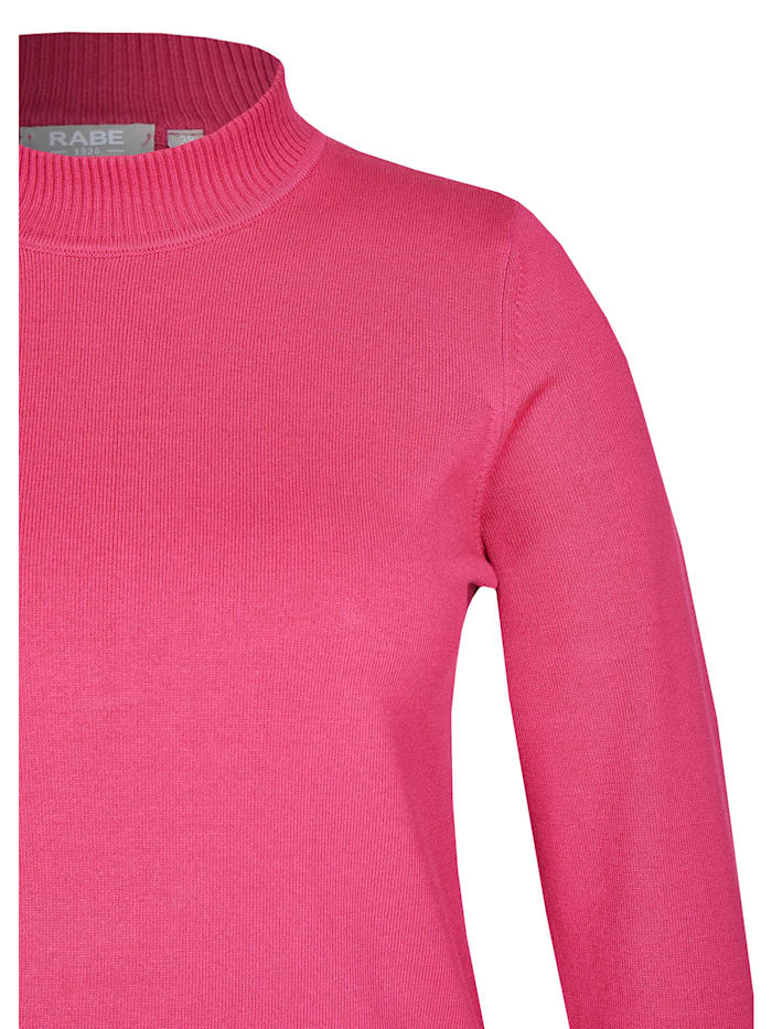 Pullover im Uni-Design mit Rippstrick-Säumen