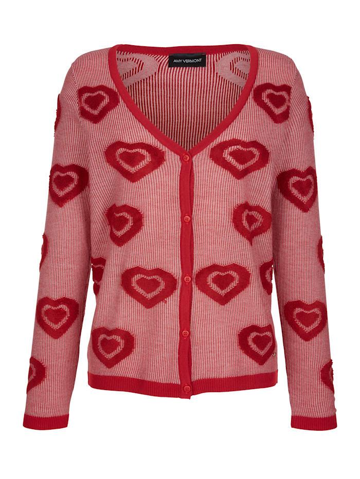 Cardigan mit allover gestrickten Streifen- und Herzdessin