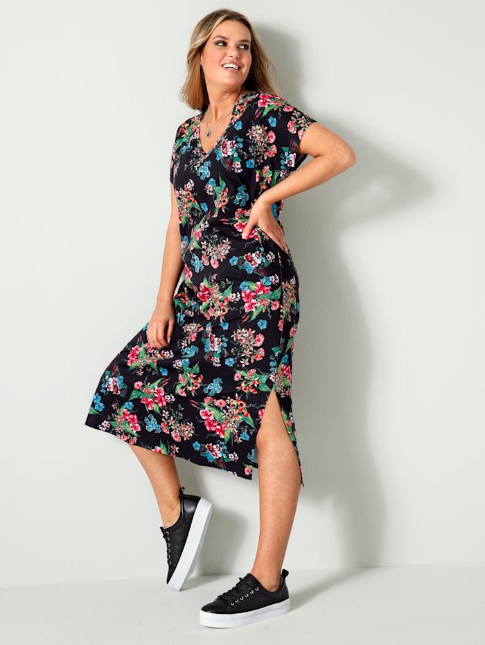 Janet & Joyce Jersey jurk met bloemendessin rondom, Zwart/Roze