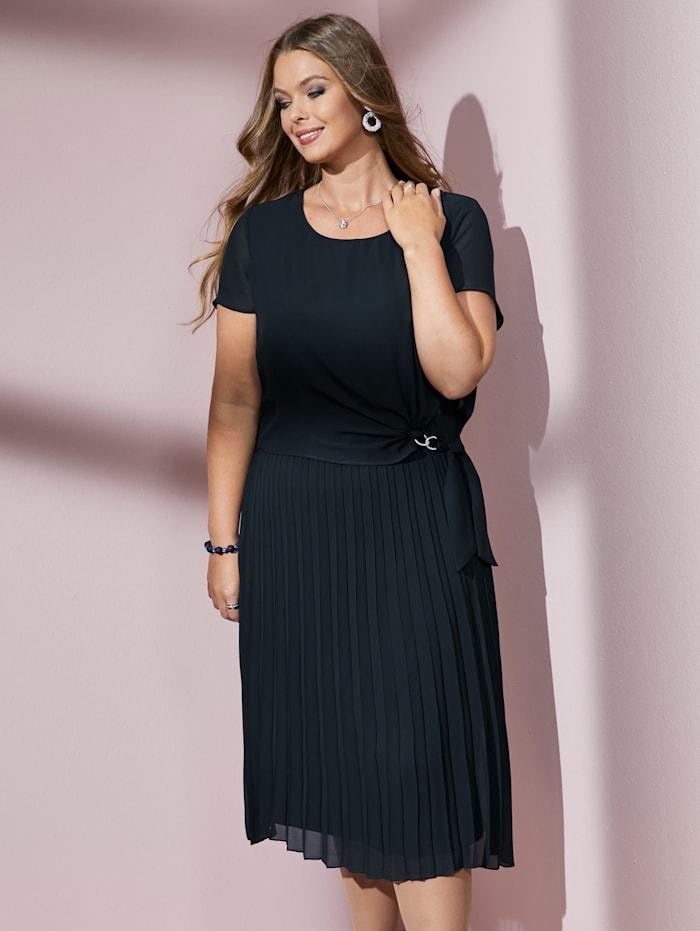 MIAMODA Kleid mit Rockteil aus Plissee, Marineblau