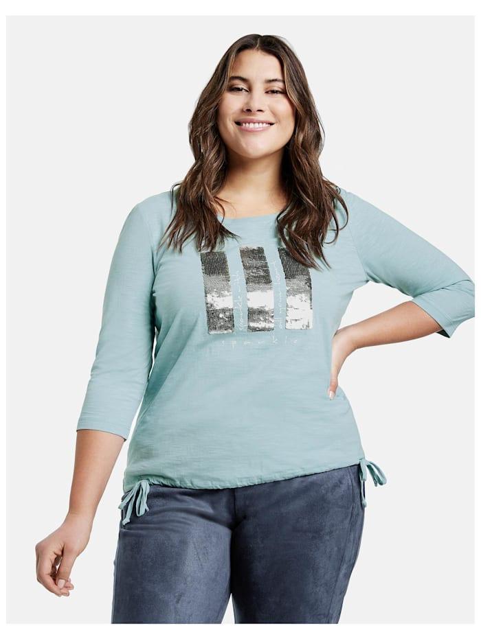Samoon Shirt mit Pailletten aus GOTS zertifizierter Bio-Baumwolle, Cameo Blue gemustert