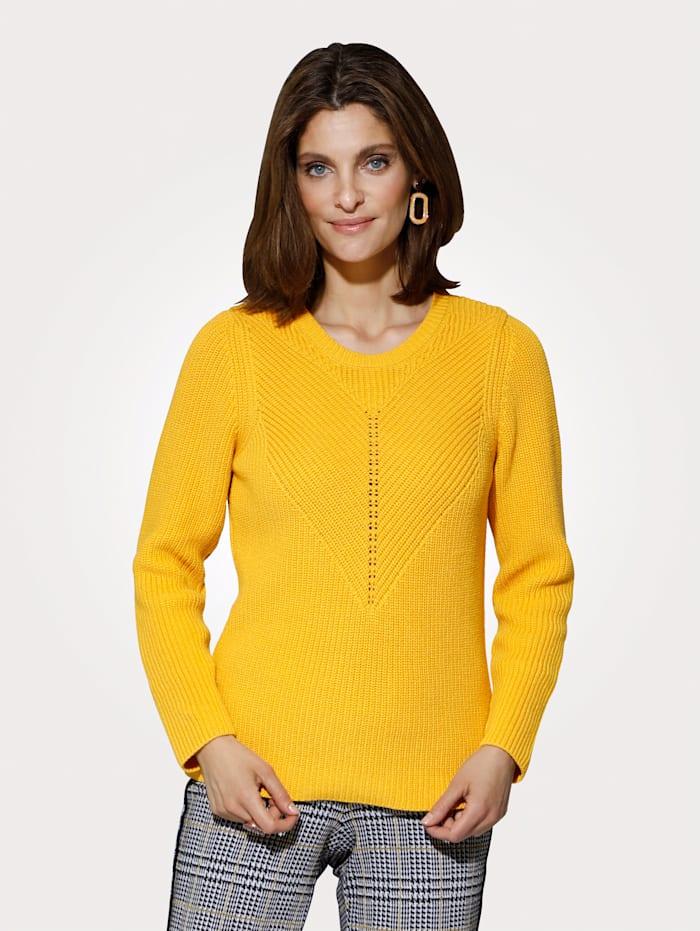 MONA Pullover mit Strukturstrick, Ockergelb