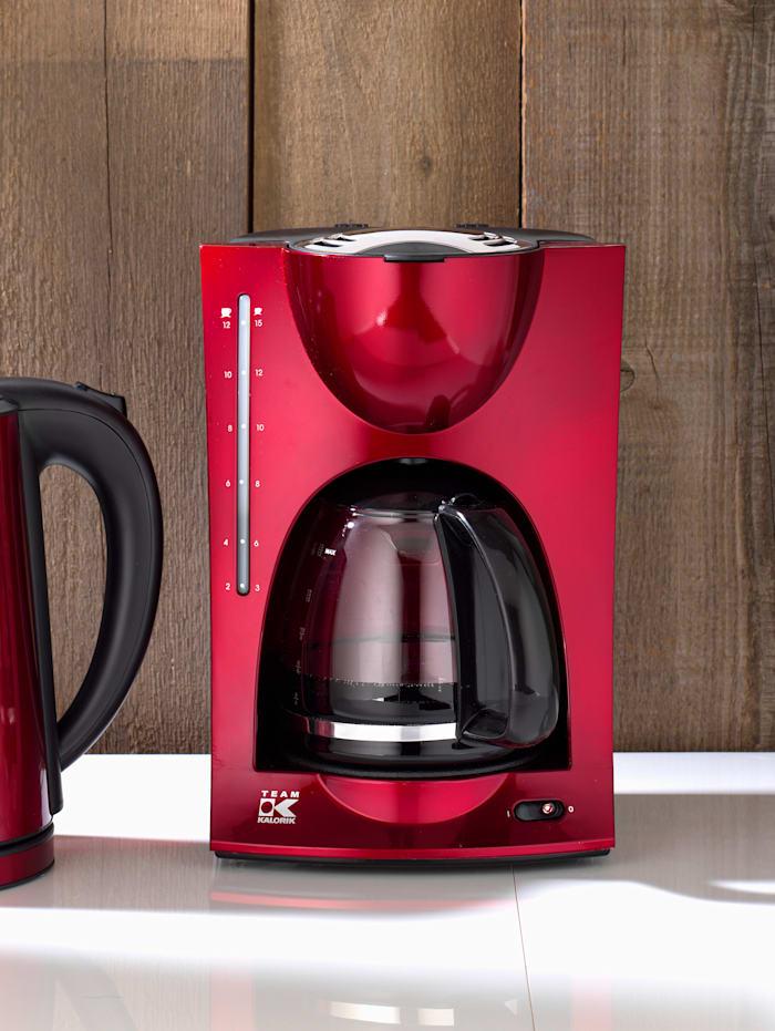 Design Kaffeeautomat im modernen metallic rot