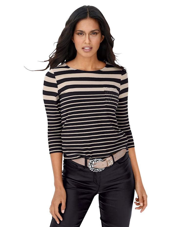 AMY VERMONT Shirt met strepen en siersteentjes, Zwart/Beige