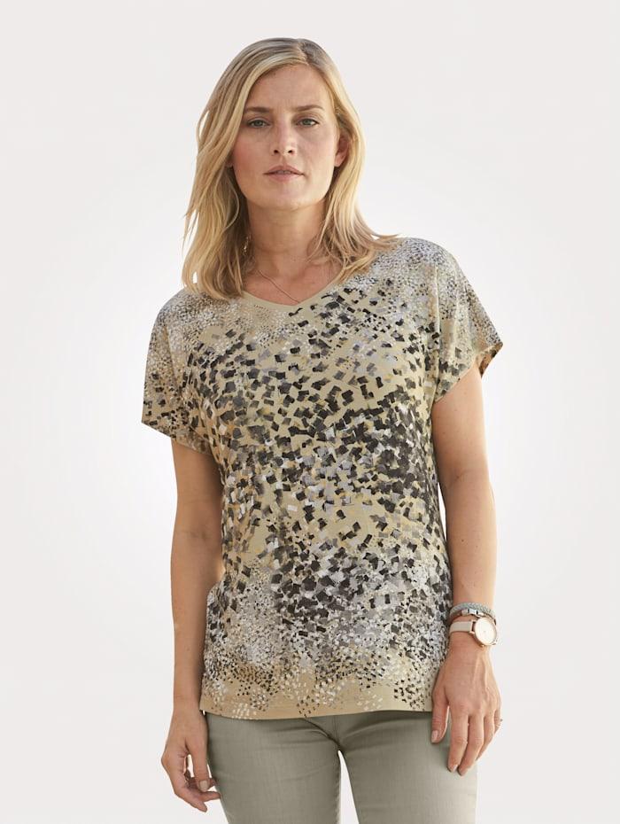 MONA Shirt mit Tupfendruck in Aquarelloptik, Sand/Grau/Schwarz