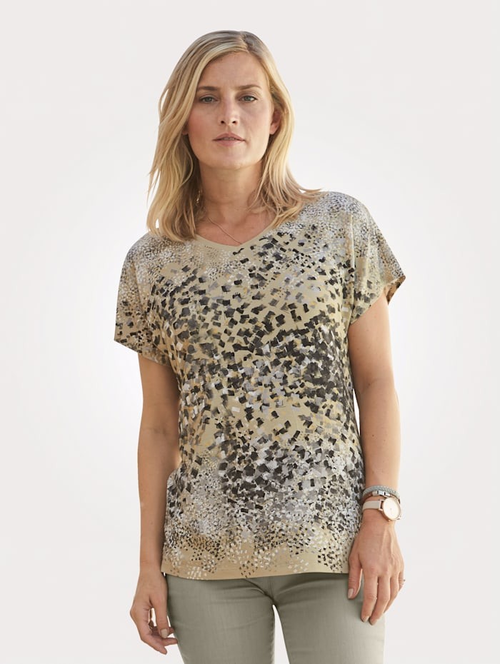 MONA Top with spot print, Sand/Grey/Black