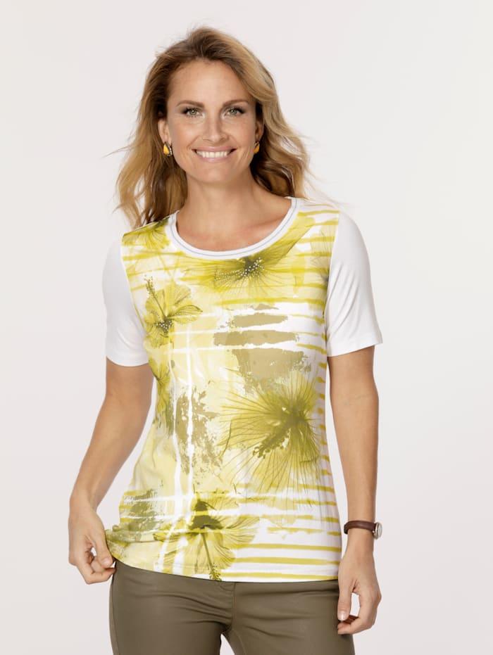 MONA T-shirt, Blanc/Jaune/Olive