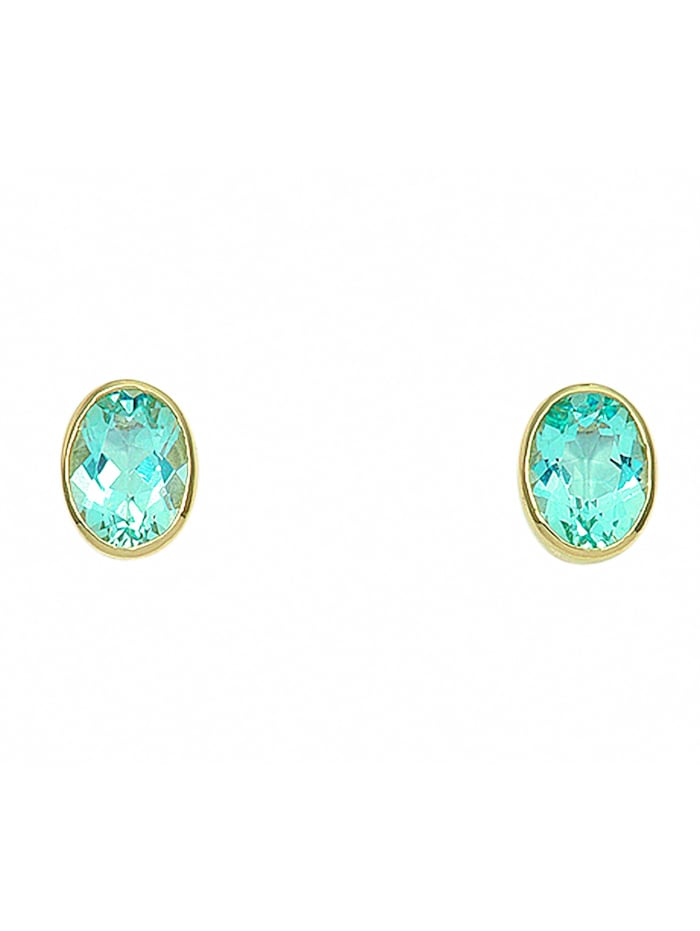 1001 Diamonds Damen Goldschmuck 585 Gold Ohrringe / Ohrstecker mit Aquamarin, blau