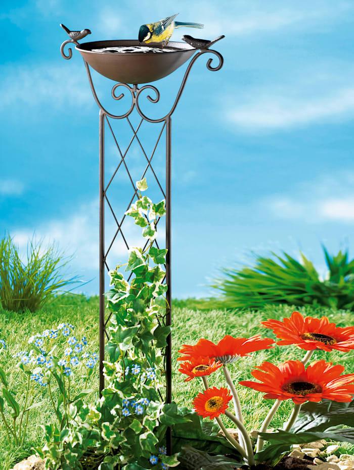 TRI Vogeltränke mit Blumenrankhilfe, Schwarz