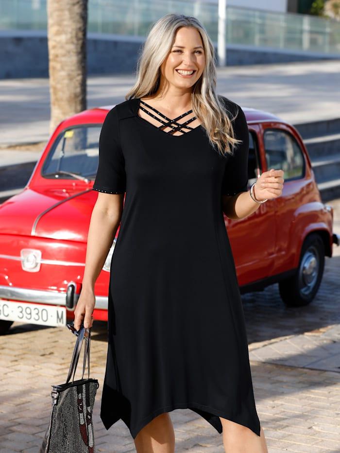 MIAMODA Kleid mit modischen Dekobändern am Ausschnitt, Schwarz