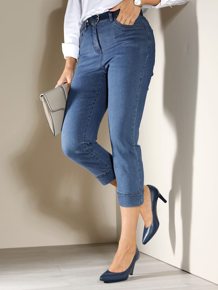 m. collection Capri-jeans met sierklinknageltjes in stervorm, Blauw
