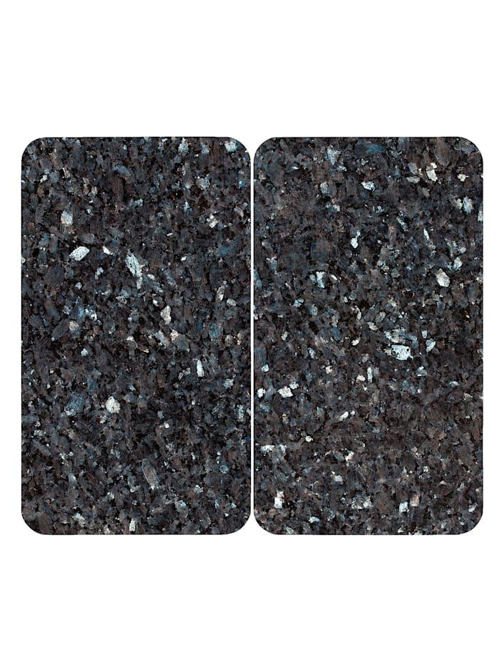 Wenko 2er-Set Herdabdeckplatten 'Marmor-Optik', graublau, Marmor/Grau