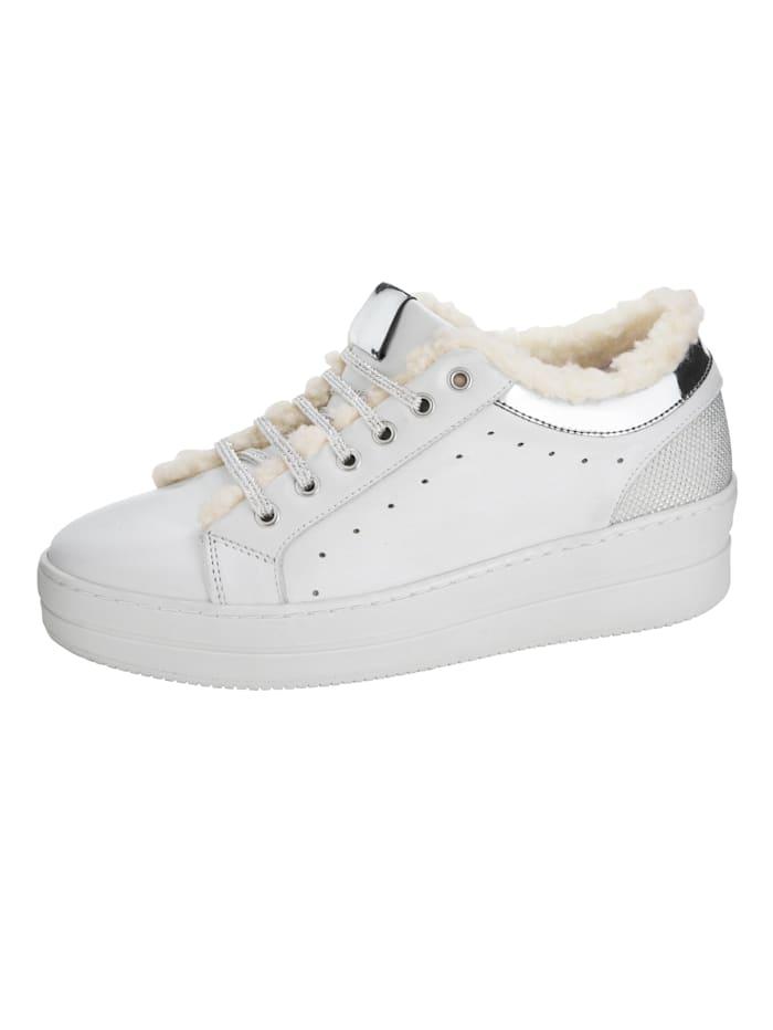 Sneaker met zacht imitatievacht, Wit