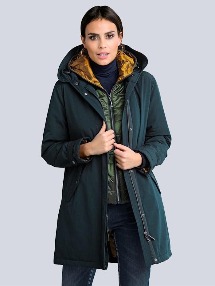 Alba Moda Parka avec veste amovible, Marine/Vert/Cognac