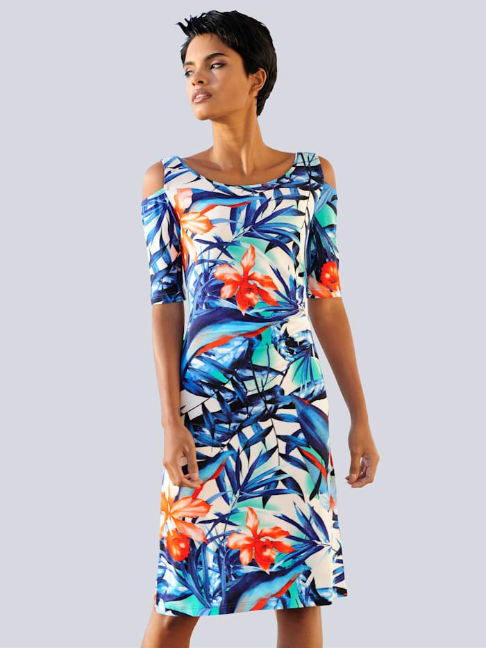 Alba Moda Jurk met cut-outs bij de schouders, blauw/multicolor