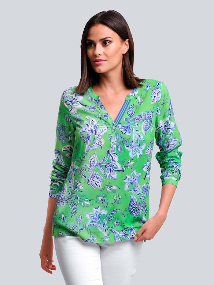Alba Moda Blouse met exclusieve print, Groen/Blauw