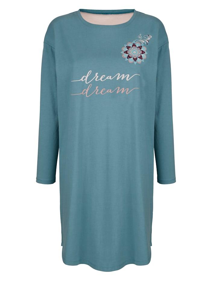 Blue Moon Nachthemd mit schönem Ornament im Vorderteil, Smaragd