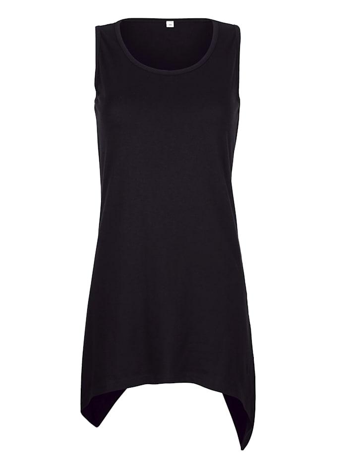Maritim Shirt met puntige zoom, zwart