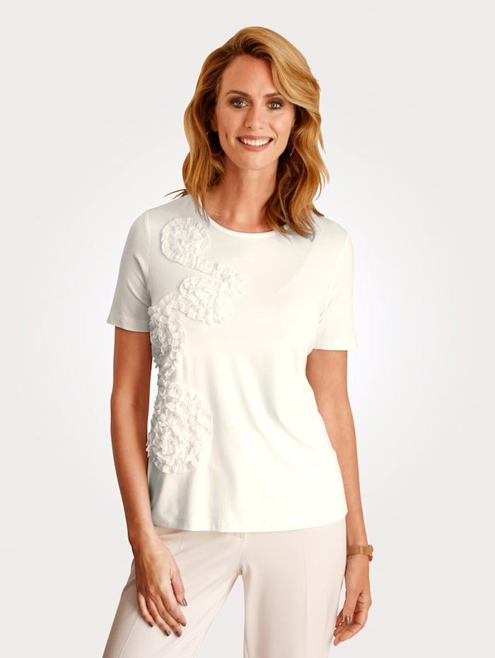 MONA Shirt mit Rüschendekoration, Ecru