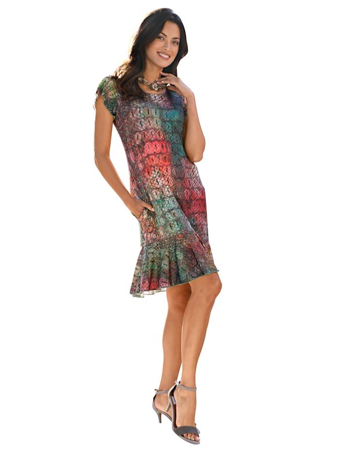 AMY VERMONT Kleid mit Kroko-Print allover, Rosé/Grün/Pink