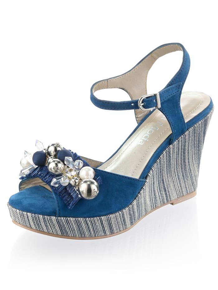 Alba Moda Sandales compensées avec perles et pierres fantaisie, Bleu