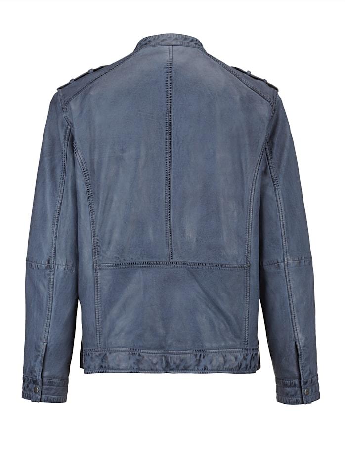 Veste en cuir d'aspect usé tendance
