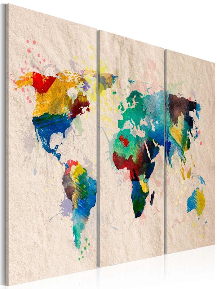 artgeist Wandbild Die Welt der Farben - Triptychon, Creme