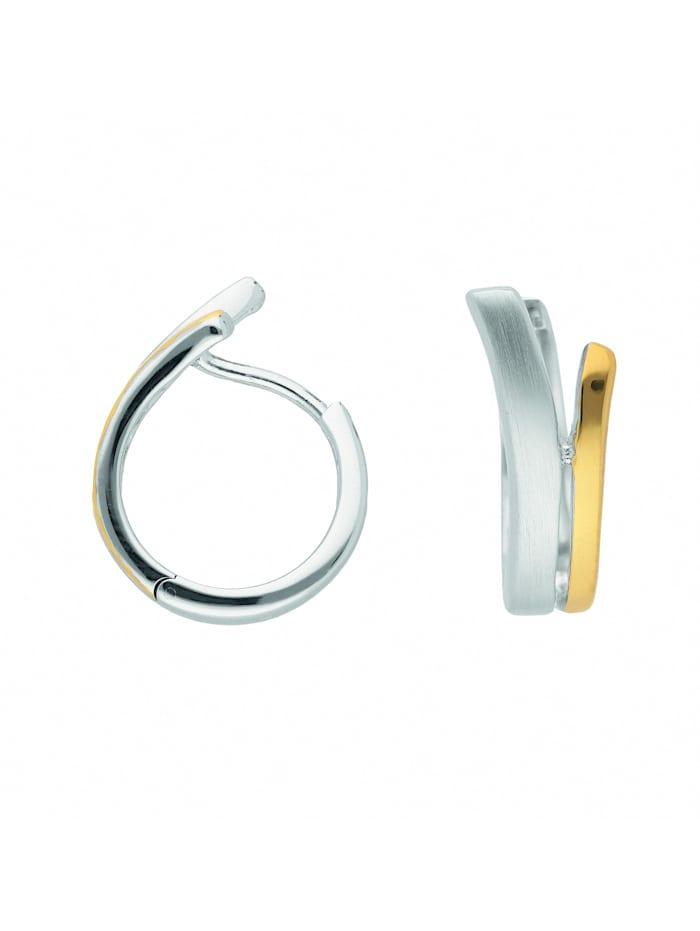 1001 Diamonds Damen Silberschmuck 925 Silber Ohrringe / Creolen Ø 14,4 mm, silber