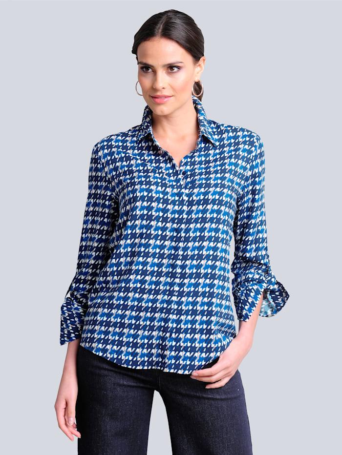 Alba Moda Bluse im neu designtem Print allover, Blau/Marineblau