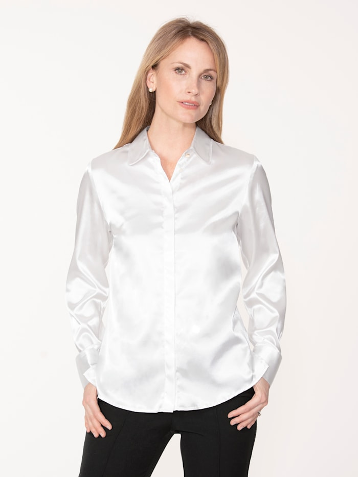 MONA Bluse aus elastischem Satin, Creme-Weiß