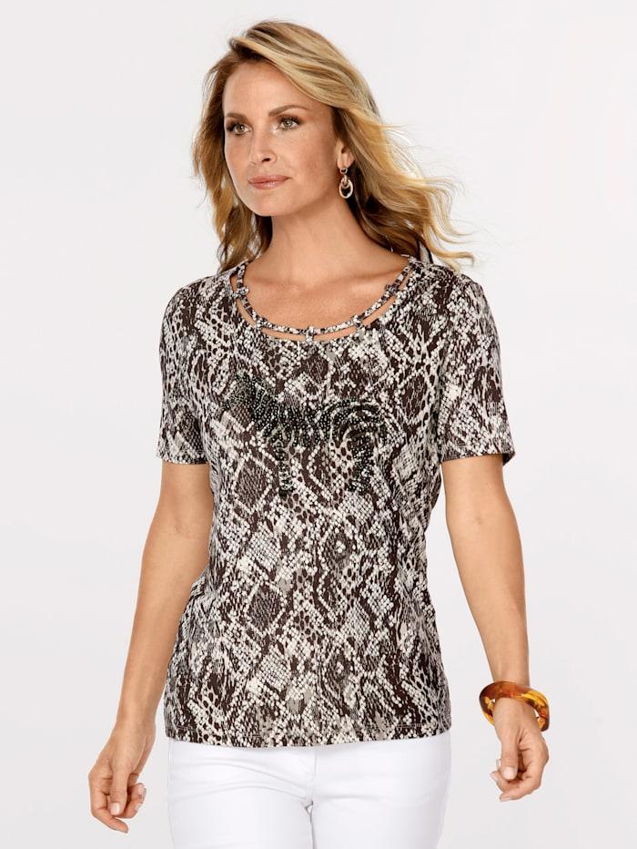 MONA Shirt mit Reptil-Dessin, Braun/Natur