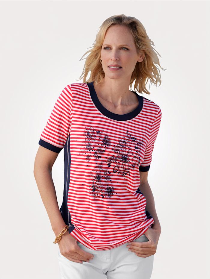 MONA Shirt im farbharmonischen Blumendruck, Rot/Weiß/Marineblau