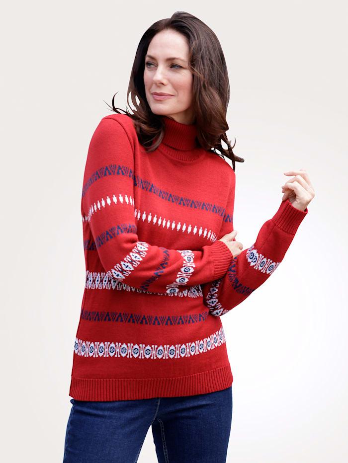MONA Pullover mit grafischem Jaquardstrick, Rot/Blau/Weiß