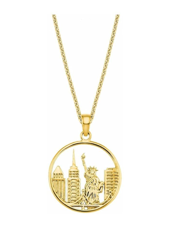 amor Kette mit Anhänger für Damen, Sterling Silber 925, New York, Gold
