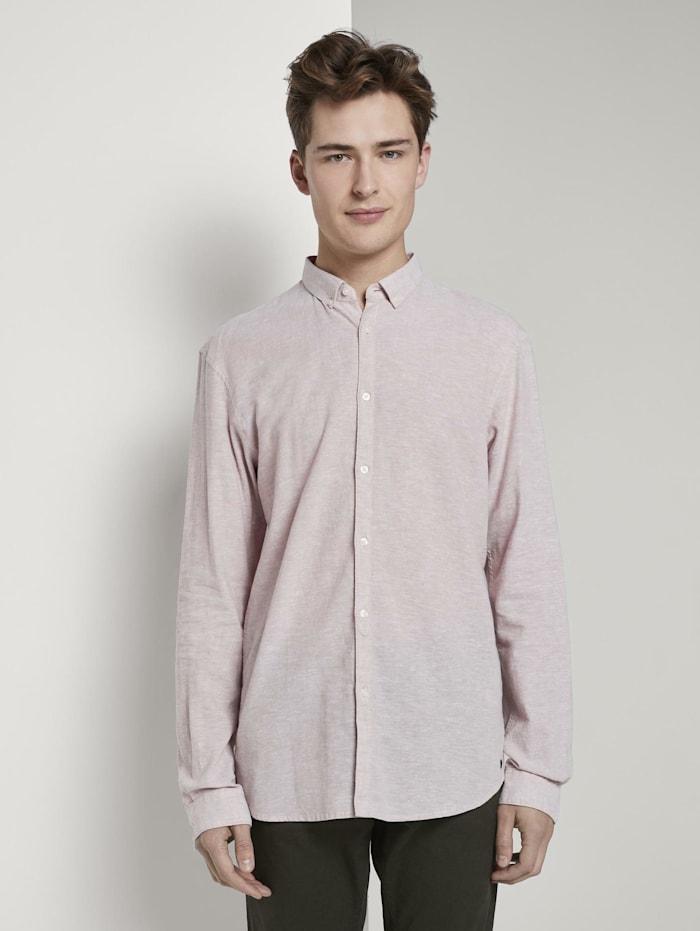 Tom Tailor Denim Strukturiertes Hemd aus Leinengemisch, Fog Beige