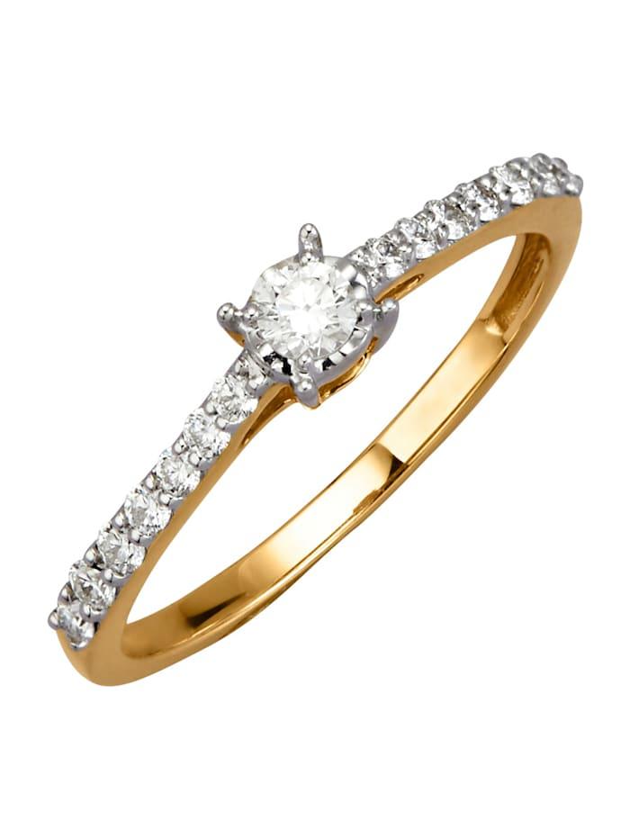 Diemer Diamant Damenring mit 15 Brillanten, Weiß