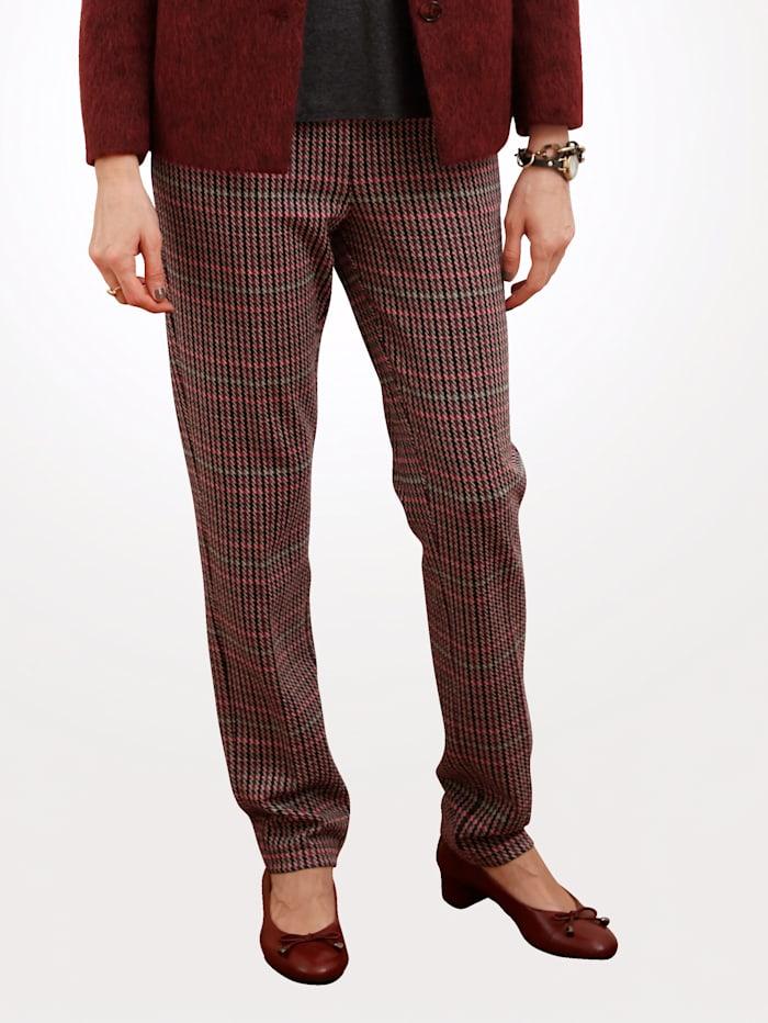 MONA Pantalon en jersey à motif pied-de-poule, Rouge/Noir