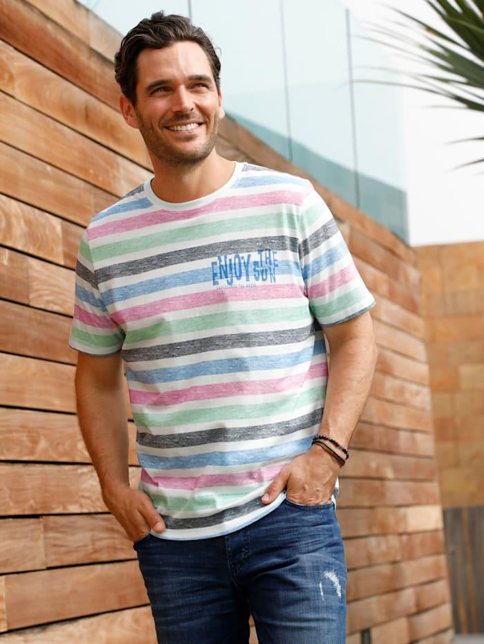 BABISTA T-Shirt mit bedrucktem Streifenmuster, Rosé/Mintgrün