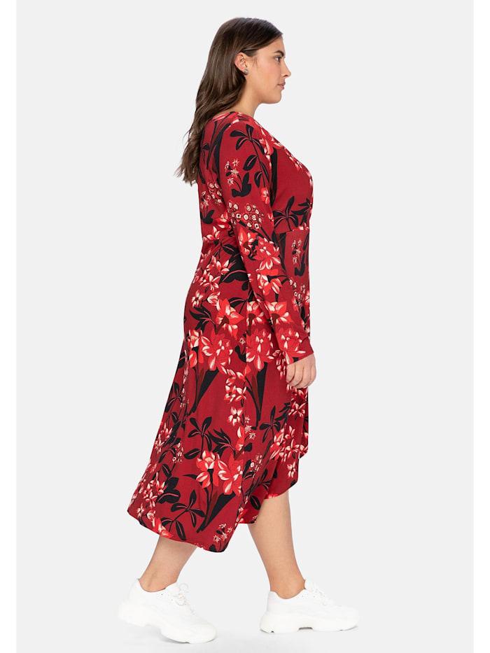 Jerseykleid in Wickeloptik, mit Blumendruck