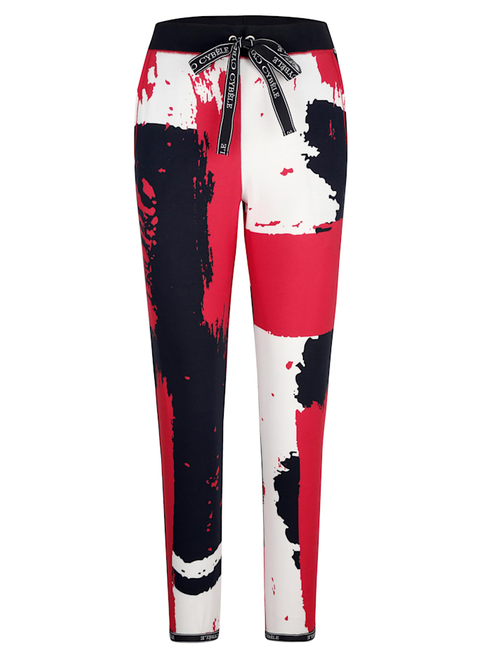 Harmony Freizeithose in einzigartigem Dessin, Schwarz/Rot/Weiß