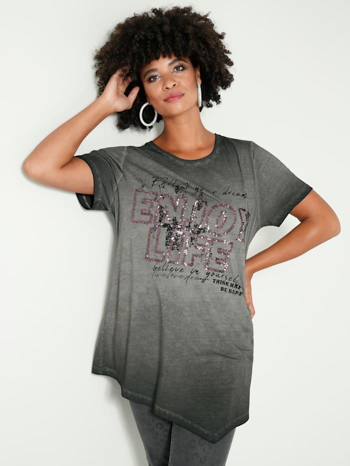 Angel of Style Shirt mit Zipfelsaum, Schwarz
