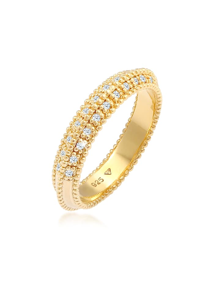 DIAMORE Ring Verlobung Diamant (0.12 Ct.) 925Er Sterling Silber, Gold